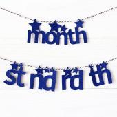 お誕生祝いにオススメ!フェルト製 ガーランド  ■用途:お誕生祝い、月齢祝い、記念日、ハーフバースデ...