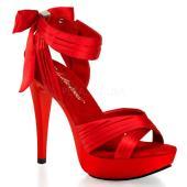 取寄せ靴 新品 かわいいサテンリボン クロスストラップ 薄厚底サンダル 12.5cmヒール 赤レッド...