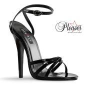 取寄せ靴 新品 アンクルベルト付き 細めのストラップ 薄厚底サンダル 15cmヒール 黒ブラックエナ...