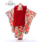 七五三 着物 3歳 人気の式部浪漫からアンティークレトロなKAGURAシリーズ  被布:赤 ベルベッ...