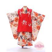七五三 着物 3歳  式部浪漫 スイートコレクション 被布セット  被布:赤 鈴に桜刺繍 着物:ベー...