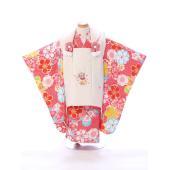 七五三 着物レンタル 3歳 鹿の子地に桜尽くしのキュートな被布セット  被布:白 鞠に桜梅刺繍 着物...