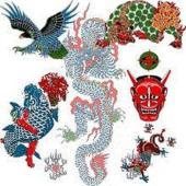 タトゥーシール【ジャイアントサイズ20×36cm】 赤龍・金太郎と鯉・青龍・大鷲・赤般若・唐獅子◆美...