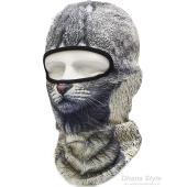 【商品情報 】  通気性・伸縮性に優れた薄手素材の動物柄の目出し帽 (バラクラバ フェイスガード)で...