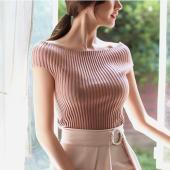 ニット レディース 上品 トップス 半袖 無地 リブニット 30代 40代 女性 ファッション 高級...