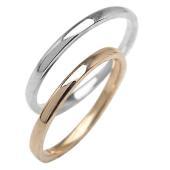 結婚指輪 マリッジリング シンプル ストレート ピンクゴールドK10 ホワイトゴールドK10 ペアリ...