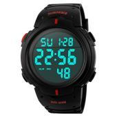 978c8ab858 SKMEI 腕時計 メンズ 大きい文字盤 5気圧防水 デジタル表示 LEDライト プラスチックベルト ブラック レッド