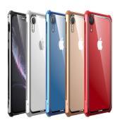 アップル アイフォンXR用のマグネットで簡単装着ができる強化ガラスバックパネル付きメタルバンパー 衝...