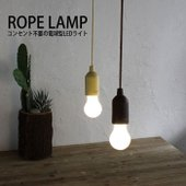 コンセント不要の電球型LEDライト。インテリアになじむ艶消しのウッドプリント。本体を持ってロープを引...