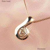 K18ピンクゴールド ダイヤモンド 1粒 ペンダント ネックレス ■使用素材:K18ピンクゴールド(...
