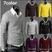 ゴルフウェア メンズ セーター Vネック ニット ビジネスにも普段着にも使いやすいかっこいいニットセ...
