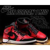 NIKE AIR JORDAN 1 MID black/gym red-white バスケットボール...