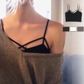 インナーとしてもカジュアルとしても幅広く使用できる新作ビスチェキャミ 胸元のデザインがちょいセクシー...