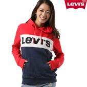 【Levis】リーバイスのレディース長袖トップス。 トリコロールの配色とフロントが印象的な プルオー...