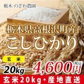 新米 30年度 栃木県産 お米(玄米) 品種 コシヒカリ 量  20kg  某お米の有名な産地に住ん...