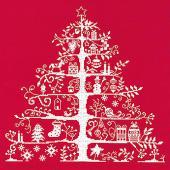 DMC刺繍キット クリスマス(刺しゅう)クロスステッチ クリスマスツリー(レッド/ホワイト)初心者向...