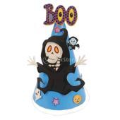 説明:ゴーストデザインのハロウィンパーティーの子供コーンハットパーティーの帽子は紙で作られ、調節可能...
