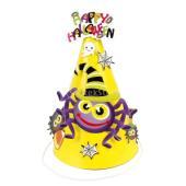 説明:スパイダーデザインのハロウィンパーティー子供コーンハットパーティーの帽子は紙で作られ、調節可能...