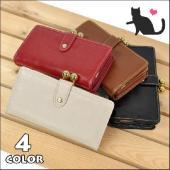 ■ フェイクレザーに猫の全身シルエットを型押しした長財布です。 ■ フロントのスナップボタン付きのベ...