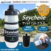 ボトルに水を入れ蓋を閉めたら、あとはボトルを押すだけで、ろ過された水がすぐに出てくる Seychel...