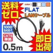 LANケーブル ランケーブル フラット 0.5m CAT6準拠 1年保証 ストレート ツメ折れ防止カ...
