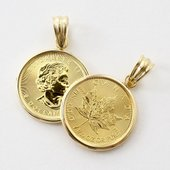 カナダ政府鋳造、純金1/10オンス メイプルリーフコインに18金のシンプルフセコミ枠を巻き、真ちゅう...