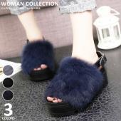 商品名:バックストラップ付きファーサンダル/ Back strap with fur sandals...