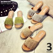 商品名:フラットソールフリンジサンダル Flat sole fringe sandals   (サイ...