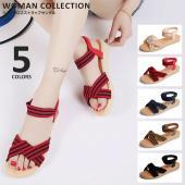 商品名:リボンクロスストラップサンダル Ribbon cross strap sandal   (サ...