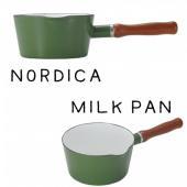 IH鍋 ノルディカ  ホーローミルクパン ブリディッシュグリーン  片手鍋 北欧風 サイズ:約W32...